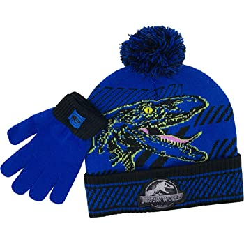 World Winter Beanie Hat /& Gloves 2-Piece Set Boys Children Kid/'s Jurassic Park