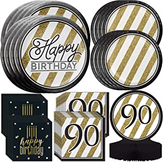 Sponsored Ad - Creative Converting Black & Gold 90th Birthday Birthday Party Bundle | Party Supplies Include Centerpiece, ...
