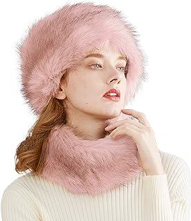 قبعة جميلة من الفراء الصناعي للنساء على طراز كوساك روسي، مجموعة وشاح للسيدات