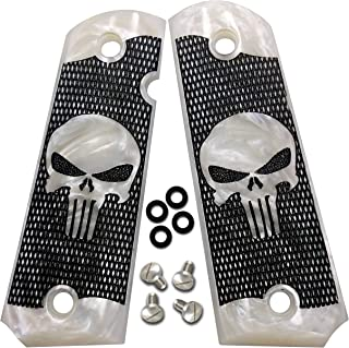 Dan Eagle 1911 Grips Full Size Punisher Simulated White Pearl Fits Government and Commander