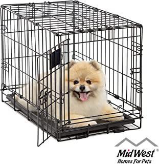 Dog Crate | MidWest Life Stages XS Folding Metal Dog Crate | Divider Panel, Floor Protecting Feet, Leak-Proof Dog Tray | 22L x 13W x 16H inches, XS Dog Breed