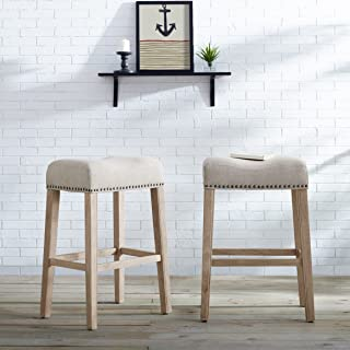 Roundhill Furniture Coco Upholstered Backless Saddle Seat Bar Stools 29