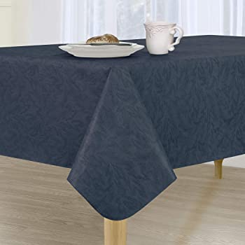 Amazon Com Sonoma Damask Stain Resistant And Spill Proof With Flannel Backing Vinyl Tablecloth For Spring Summer Party Picnic Navy 60 X120 Oblong Rectangle Furniture Decor