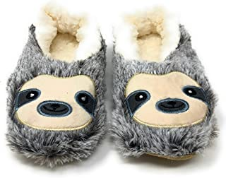Funny Fluffy Animal Womens Sherpa Slippers (S, Sloth Steps)