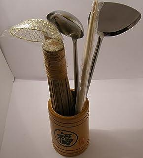 Set d'ustensiles pour wok - inox / cuivre / bambou de qualité supérieure