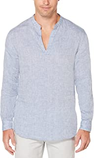 Men's Long-Sleeve Solid Linen Cotton Popover Shirt