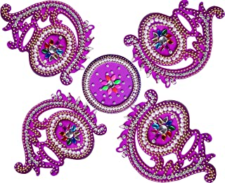 RUCI STORE Diwali Acrylic Rangoli Floor Decorations Acrylic Mataka Design with Studded Stones and Sequins, Traditional Festive Home Décor Big Size (Purple)