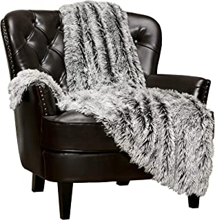 Chanasya Super Soft Shaggy Frosting Tip Longfur Throw Blanket - Snuggly Fuzzy Faux Fur Lightweight Warm Elegant Cozy - for Couch Bed Chair Sofa Daybed Black Blanket - (50x65) - Black