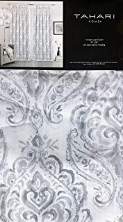 Tahari Window Curtains Floral Damask Medallion Pattern in Shades of Gray on White Back Tabs Set of 2 Panels Draperies - 37 Inches by 84 Inches