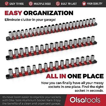 Olsa Tools 1/2-Inch, 3/8-Inch & 1/4-Inch Drive Aluminum Socket Organizer   Premium Quality Socket Holder (Red)