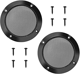 2pcs 4.88inch//124mm Black Color Mesh Speaker Grill Cover Guard Protector Speake Decorative Circle for 116 mm Outer Speaker Mounting Screw is Included
