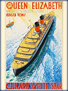A SLICE IN TIME RMS Queen Elizabeth Worlds Largest Liner Cunard White Star Great Britain England British Vintage Ocean Liner Travel Poster advertisement. Poster measures 10 x 13.5 inches.