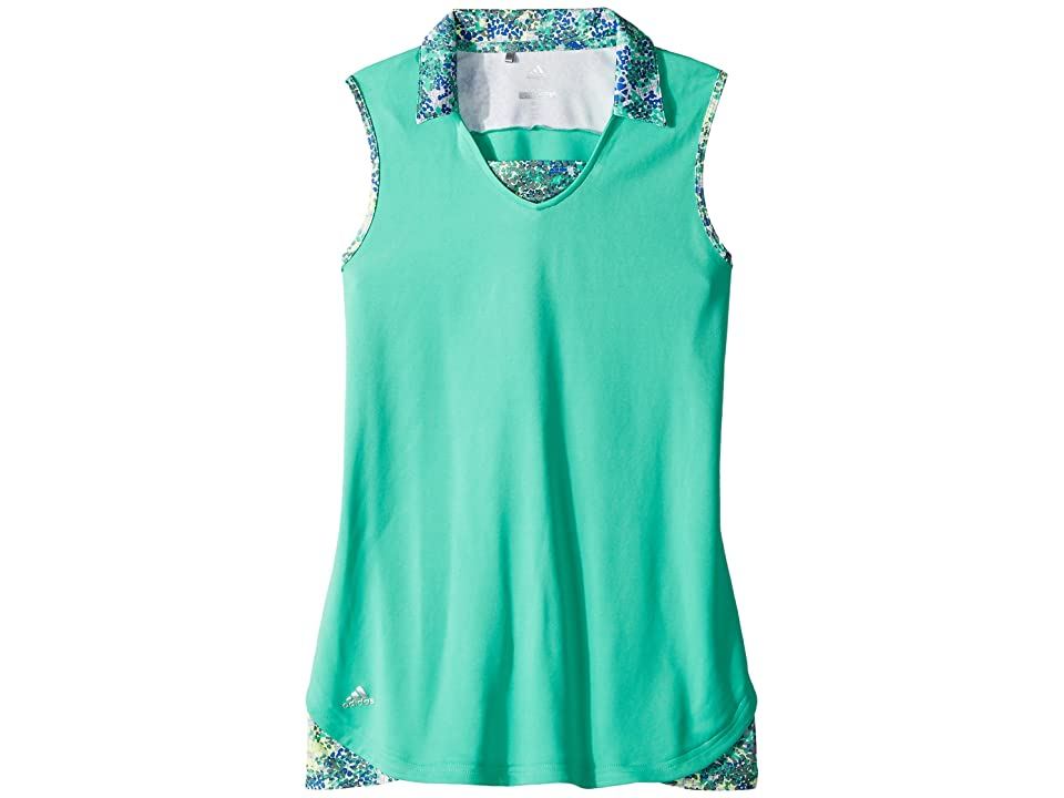 Image of adidas Golf Kids Fashion Print Sleeveless Polo (Big Kids) (Hi-Res Green) Girl's Clothing