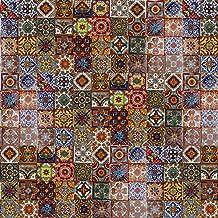 Cerames Caliente Keramische Mexicaanse tegels 5x5 cm | Set van 120 handgemaakte tegels (0,3m²) | Talavera Badkamer en Keuk...