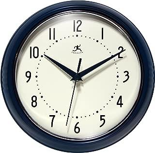 Infinity Instruments 9.5 inch Blue Wall Clock Round Retro