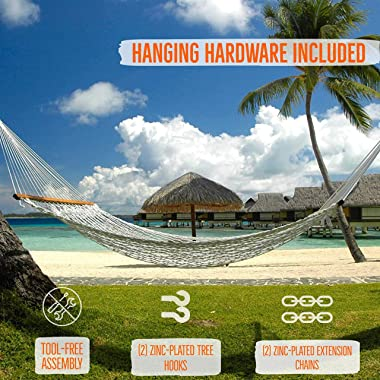 Castaway Living 13 ft. Double Traditional Hand Woven Cotton Rope Hammock with Free Extension Chains & Tree Hooks, Designe