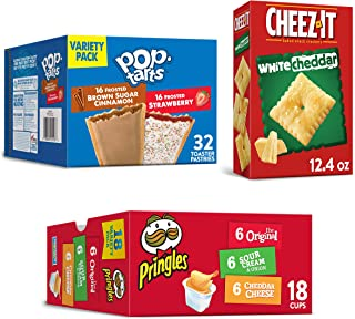 Kellogg's All Day Snacks Variety Pack - Pop-Tarts, Lunchbox Ready Pringles Packs, Cheez-It White Cheddar Crackers