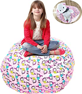 Shinny shony Stuffed Animal Storage Bean Bag - Cover Only - Large Triangle Beanbag Chair for Kids - 90 Plush Toys Holder - Quality YKK Zipper (Pink-1)