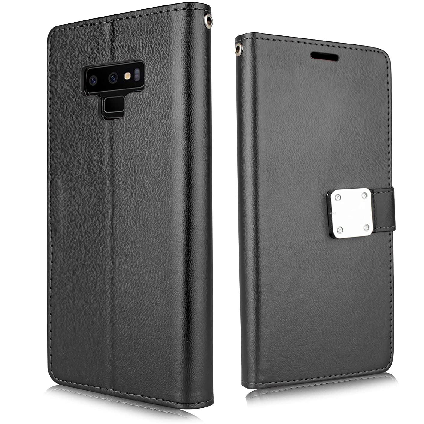 for Samsung Galaxy Note 9 (2018 Release) SM-N960U Luxury PU Leather 6 Credit Card Slot Storage Wallet Case with Wrist Strap [Free Emoji Bonus!] (Black)