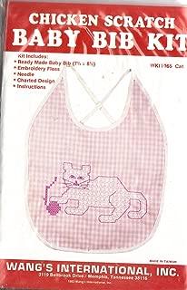 Chicken Scratch Baby Bib Kit - Pink Gingham with Cat Cross Stitch Design
