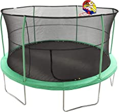 JumpKing 15' Bounce N' Dunk Trampoline & Enclosure Combo with Basketball Hoop Green