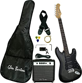 Glen Burton GE101BCO-BKB Electric Guitar Stratocaster-Style Combo with Accessories and Amplifier,