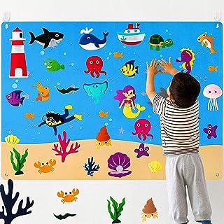 WATINC 45Pcs Ocean Felt Board Story Set 3.5 Ft Under The Sea Creatures Aquarium Storytelling Flannel Interactive Play Kit ...
