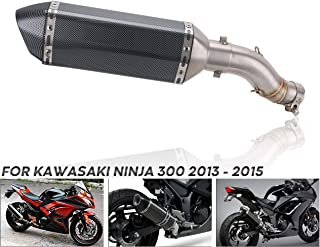 PACEWALKER Motorcycle middle pipe For Kawasaki Ninja 300 2013 2014 2015 Ninja300 Middle Link Pipe With Muffler Carbon Fiber Exhaust