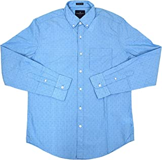 American Eagle Mens Seriously Soft Button-Down Shirt Blue Microstriped