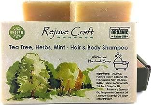 Tea Tree Mint Hair & Body Shampoo Bar. All Natural. Organic Palm Oil. Handmade in The USA. Refreshing, Soothing. for Flake (Dandruff),