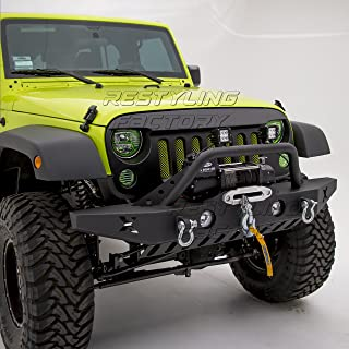 Restyling Factory Jeep Wrangler JK Rock Crawler Front Bumper with Skid Plate, D-Ring and Winch Plate Ready&OE Fog Lights Hole-Textured (Black)