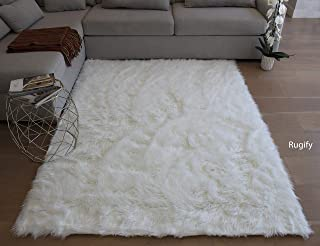 Rug Large Furry Fluffy Fuzzy Soft Solid Faux Fur Sheepskin Lambskin Sheep Hide Animal Skin 5-Feet-by-7-Feet Polyester Made Area Rug Carpet Rug White Color
