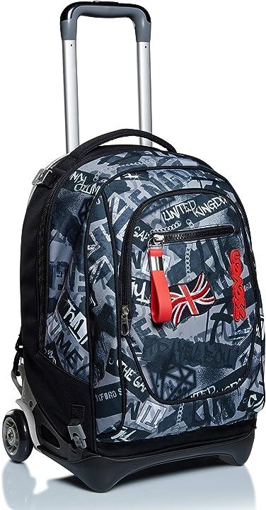 trolley scuola new tech seven keep flag nero 3in1 zaino sganciabile scuola & viaggio b0875b81v4