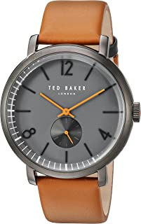 Ted Baker London Men's Quartz Stainless Steel Case Leather Strap Brown Sport,(Model No-10031514)