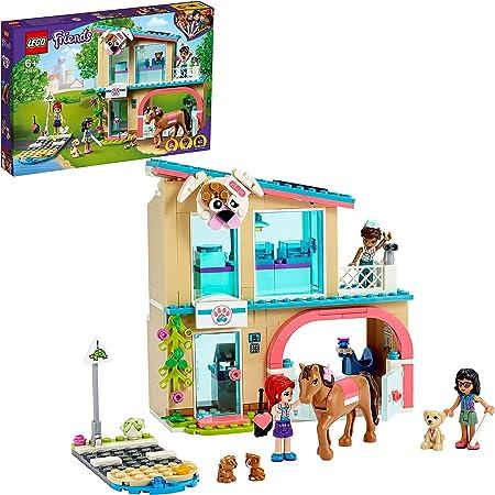 LEGO 41446 Friends LaCliniquevétérinairedeHeartlakeCity, Set de Jeu de Sauvetage d'animaux Minidolls Mia, Savannah et Donna