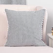 Piper Classics Farmhouse Ticking Stripe Pillow Cover, Blue, 18 x 18, Decor Accent w/Rick Rack