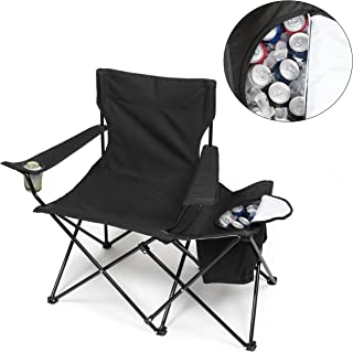 Folding Camping Chair w XL 24 Can Insulated Cooler- XXL Size Collapsible Tailgating Chair w Cup Holder and Travel Bag