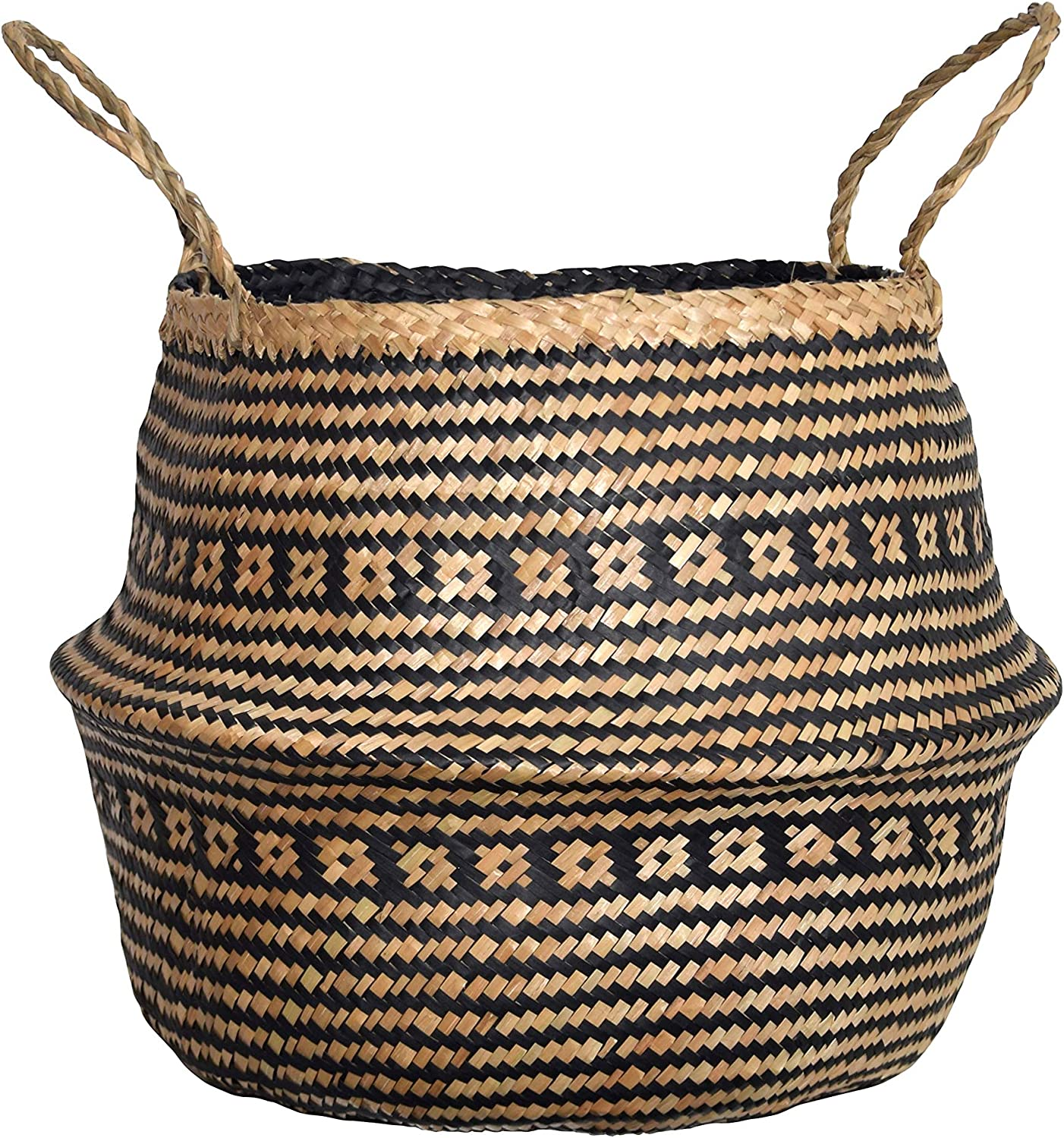 DUFMOD Medium Natural and Plush Woven Seagrass Tote Belly Basket for Storage, Laundry, Picnic, Plant Pot Cover, and Beach Bag (Plush Criss-Cross Seagrass Black, Medium)