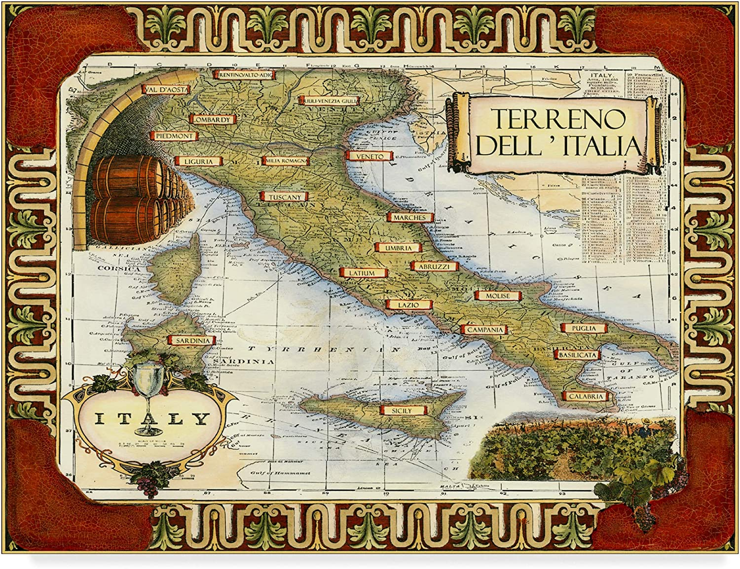 Trademark Fine Art Wine Map of  on Cgp Wall Decor by Unknown, 14x19