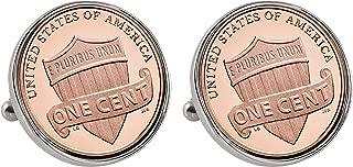 American Coin Treasures Lincoln Union Shield Penny Silvertone Bezel Cuff Links