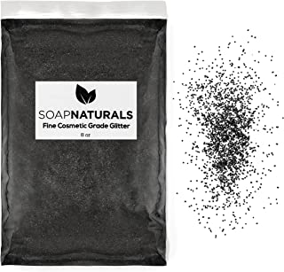 SoapNaturals Cosmetic Grade Glitter for Bath Bombs - Safe for Skin, Bulk 1/2 Pound 8 Ounce | Medium Fine, Iridescent Shimmer | Wholesale Soap Making Supplies for Cosmetics (Jet Black)