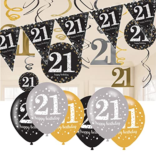 21st Birthday Decorations Black And Gold Bunting Balloons Hanging