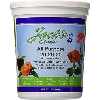 J R Peters 52024 Jacks Classic No.1.5 20-20-20 All Purpose Fertilizer