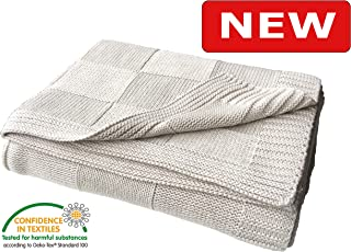 Pre-Washed 100% Cotton Knit Throw Blanket for Adult, Kid, Couch, Plant Dyed Yarn, Super Soft, Cozy, Warm, Breathable Decorative Throw Blankets for Fall, All Season, Oeko-Tex Certified (Beige, 50