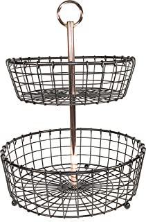 2 Tier Tabletop Basket with Copper plated handle for fruit, vegetables or toiletries
