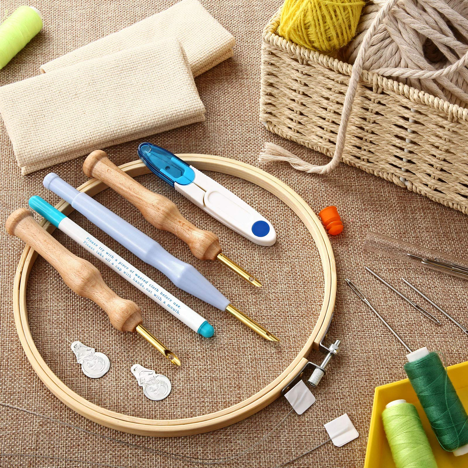 21 Pieces Punch Needle Embroidery Kits Adjustable Embroidery Hoop, Punch Needle, Wooden Handle Embroidery Pen, Punch Needle Cloth, Needle Threader for Embroidery Beginners
