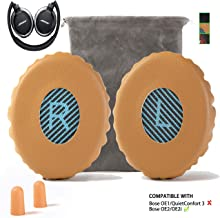Upgrade Bose On-Ear 2 (OE2) Earpad Replacement Compatible with Bose OE2 OE2i SoundLink SoundTrue Ear Pads Cushion Muffs(On Ear Headphones ONLY), Khaki w/Blue L/R Scrim