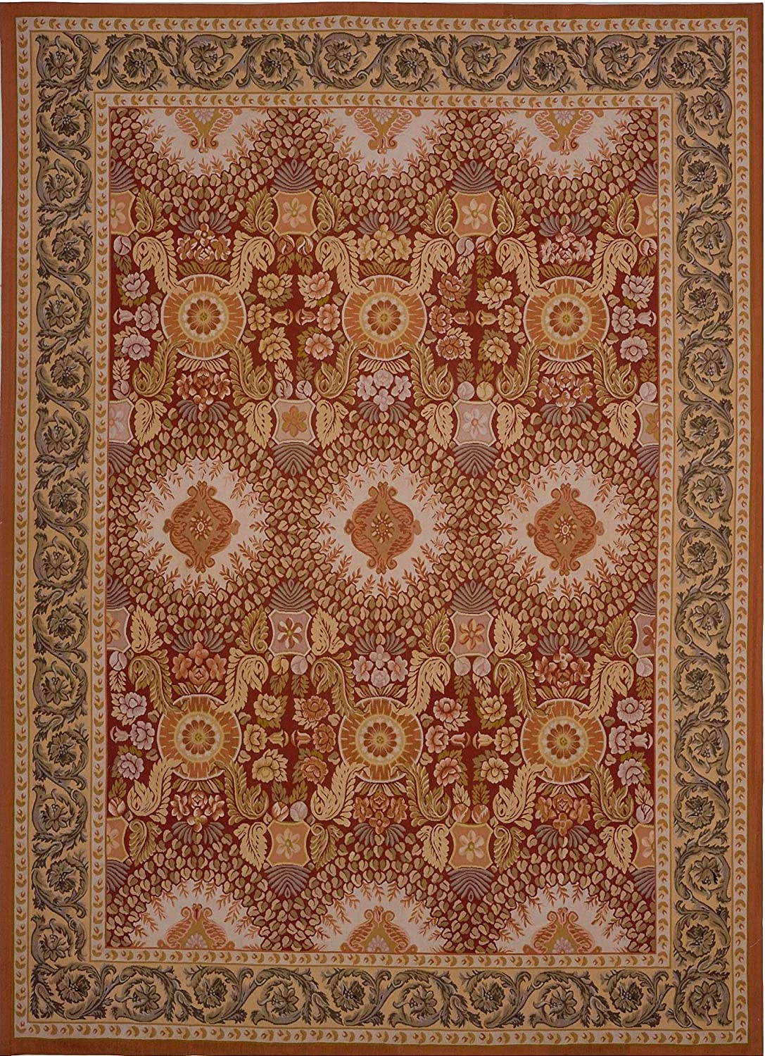 Tucson Mall Outstanding Pasargad Aubusson Hand-Woven New Zealand Wool Rug- 12' X Area 0