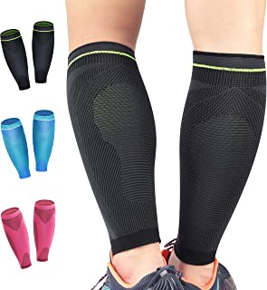 HiRui Calf Compression Sleeves, Calf Brace Shin Guards Calf Support Leg Compression Socks for Soccer Cycling, Shin Splint, Varicose Vein, Calf Pain Relief, Travel Nurses Runners (Pair)