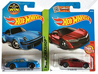 Hot Wheels 2015 Porsche 934 Turbo RSR & 2016 '17 Acura NSX (Metalflake Red) 2-Car Bundle Set